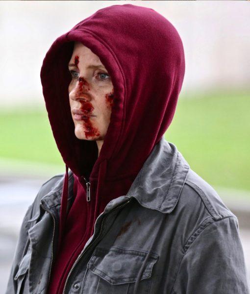 Jessica Chastain Ava Grey Cotton Jacket