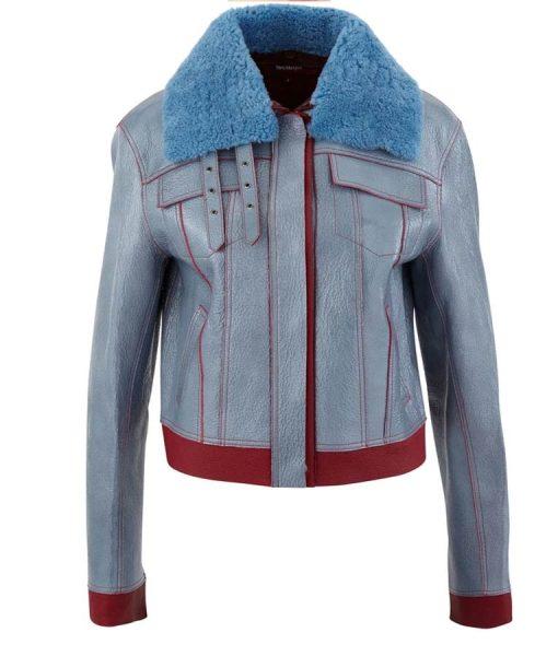 Love Life Zoe Chao Blue Leather Jacket