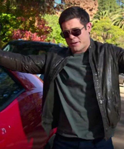 Adam Devine Magic Camp Leather Bomber Jacket