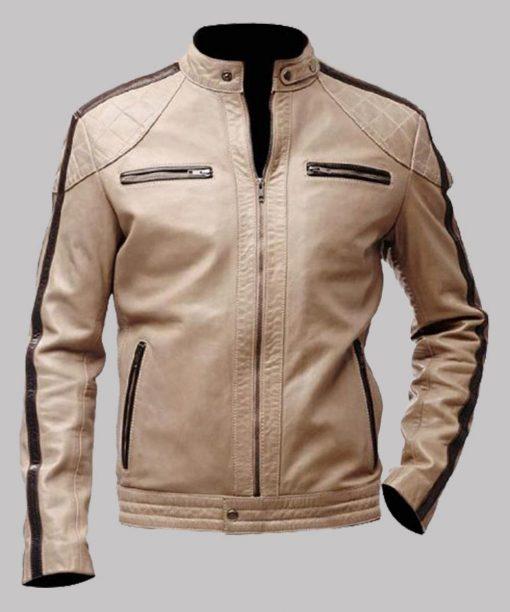 Men's Biker Beige Color Leather Jacket