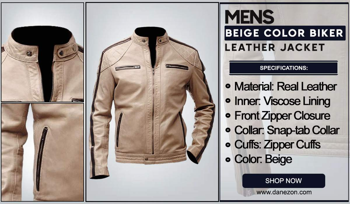 Mens Beige Color Biker Leather Jacket
