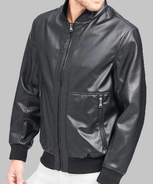 Black Men Bomber Leather Jacket