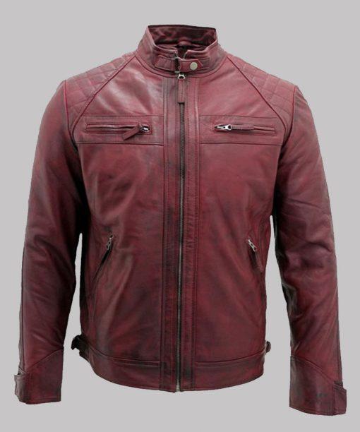 Men's Burgundy Distressed Leather Jacket
