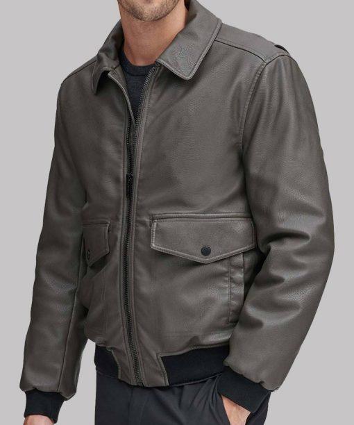 Grey Leather Mens Bomber Jacket
