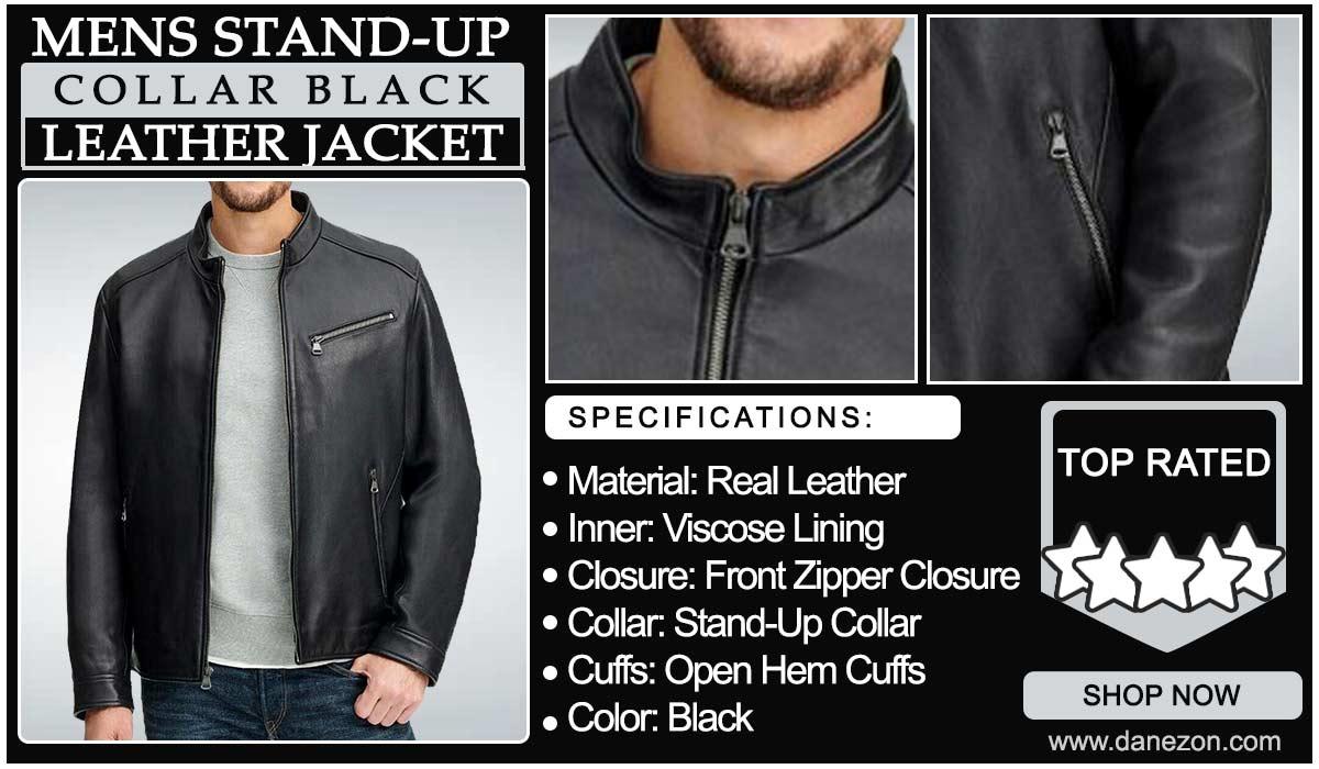 Black Genuine Leather Jacket for Mens