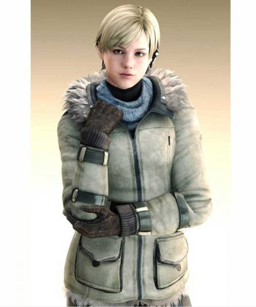 Resident Evil 6 Sherry Birkin Grey Leather Jacket with Hood