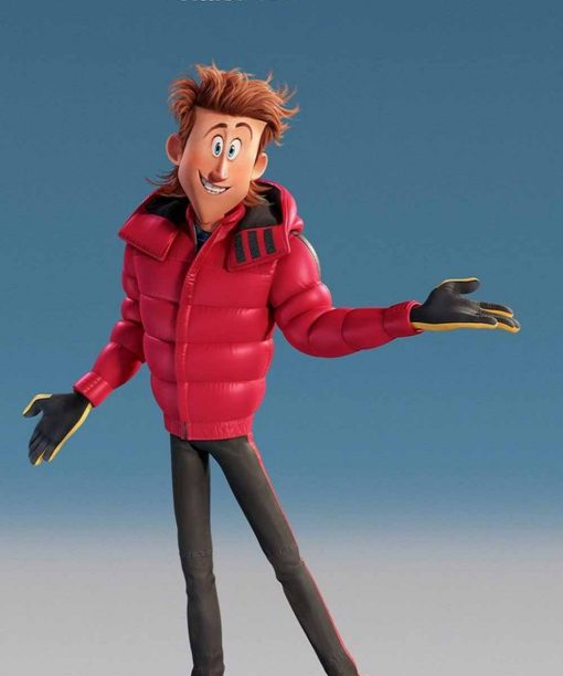 James Corden Red Smallfoot Percy Leather Jacket with Hood