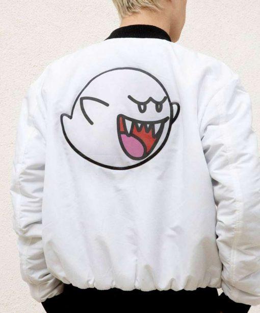 Super Mario Boo White Satin Bomber Jacket