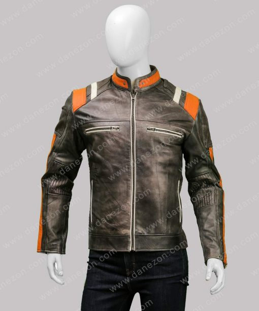 Mens Café Racer Skull Distressed Black Jacket