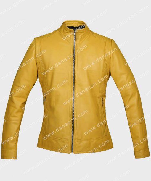 Woman Yellow Leather Jacket