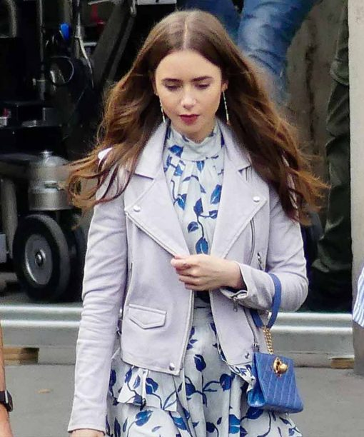 Emily in Paris Lily Collins White Leather Jacket
