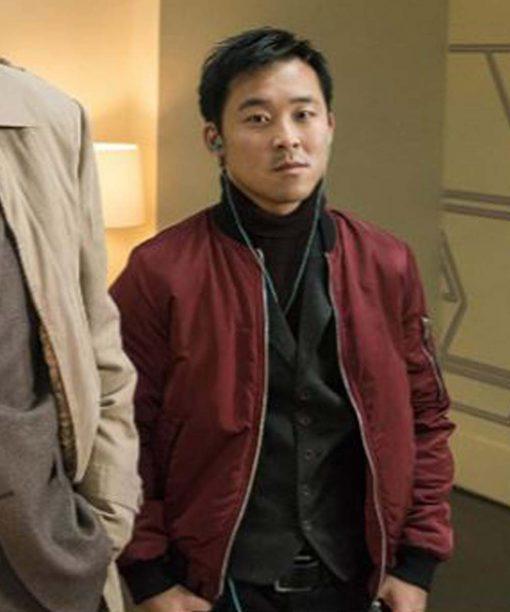 Andy Yu Fargo Maroon Bomber Jacket