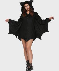 Halloween Girl Bat Black Hooded Jacket