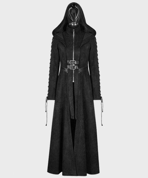 Gothic Dark Angel Black Hooded Coat