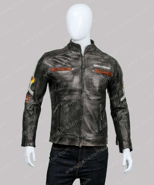 Harley Davidson Café Racer Distressed Leather Jacket