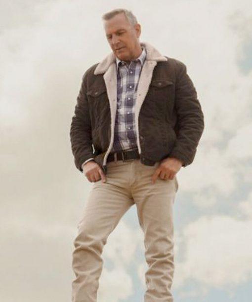 Kevin Costner Let Him Go Brown Shearling Jacket
