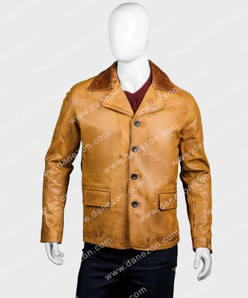 Mens Brown Buttons Leather Coat