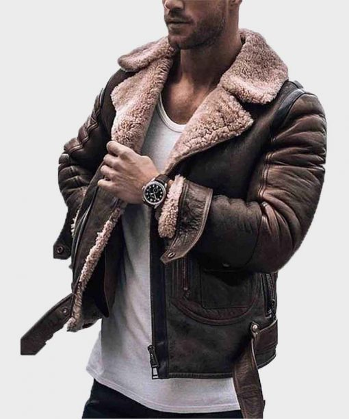 Mens Shearling Distressed Sheepskin Brown Leather Jacket