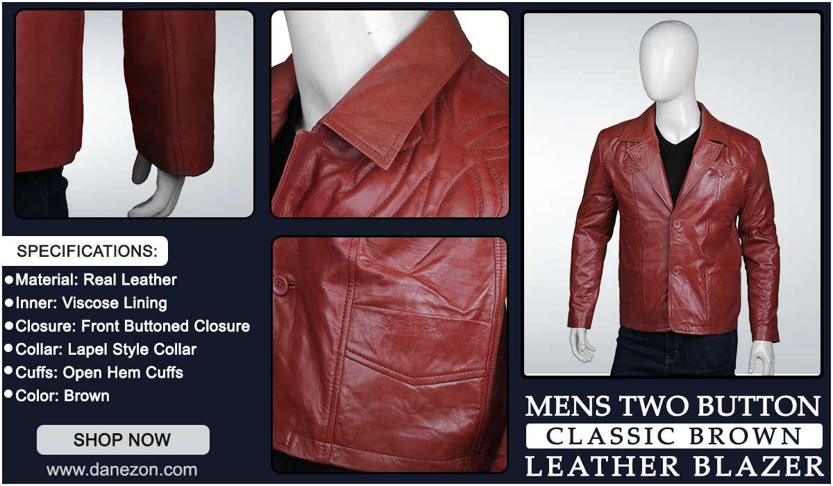 Classic Men Leather Brown Blazer
