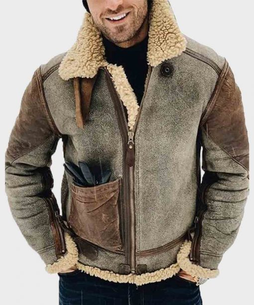 Mens Genuine Leather Winter Shearling Jacket