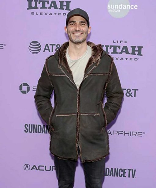 Palm Springs Event Tyler Hoechlin Brown Jacket with Fur Collar