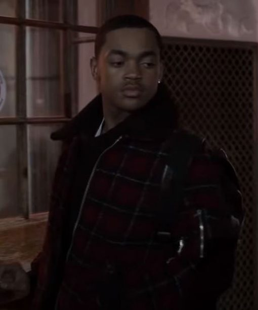 Power Book II Ghost Michael Rainey Jr. Checkered Shearling Jacket
