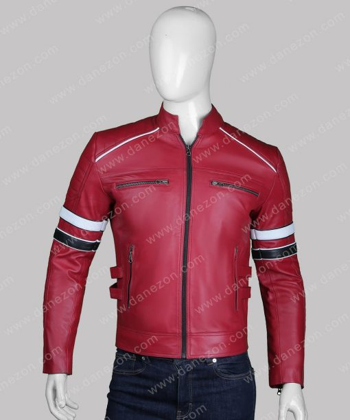 Mens Red Retro Leather Jacket