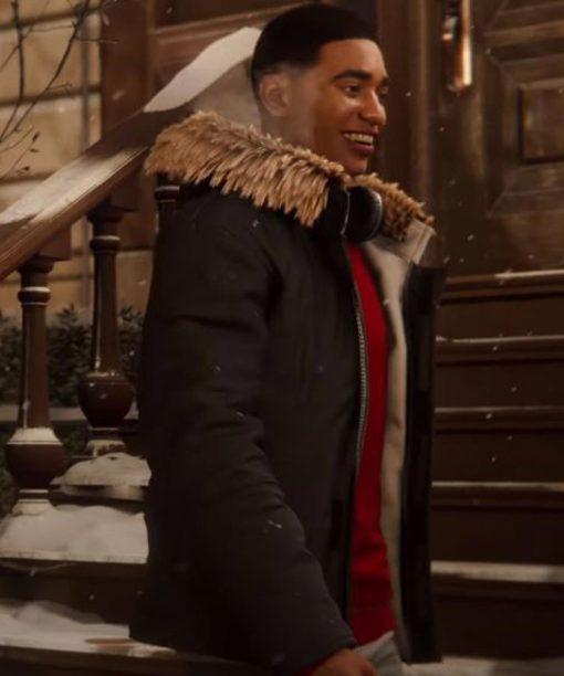 Spider-Man Miles Morales Black Cotton Jacket with Fur Collar