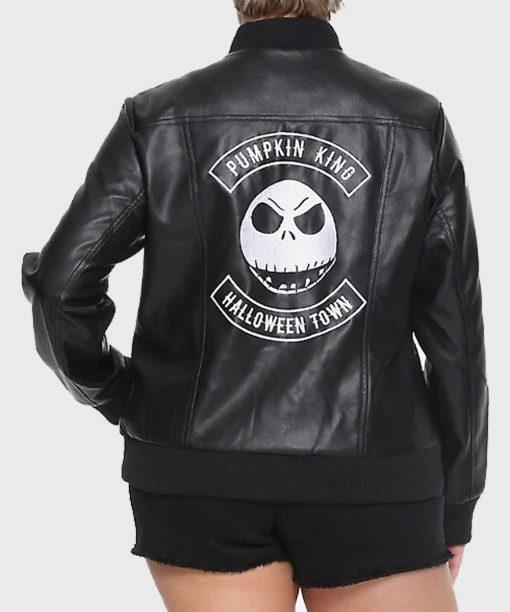 Jack Skellington Black Bomber Leather Jacket