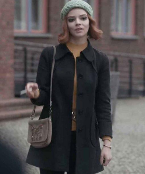 The Queen's Gambit Anya Taylor-Joy Black Cotton Coat