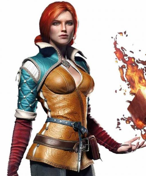Video Game The Witcher 3 Triss Merigold Brown Leather Jacket