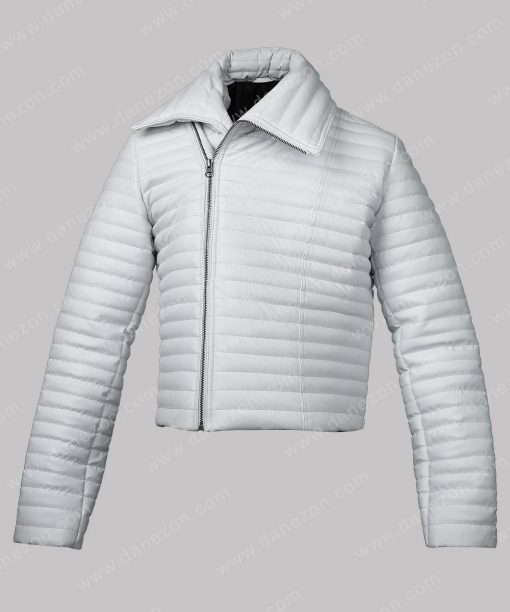 Women White Puffer Leather Jacket