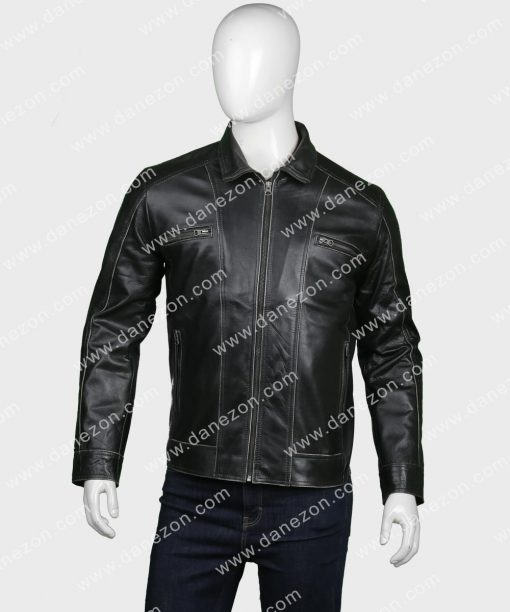 Mens Black Leather Zipper Jacket