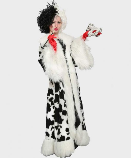 Cruella De Vil Black Dot White Long Fur Coat