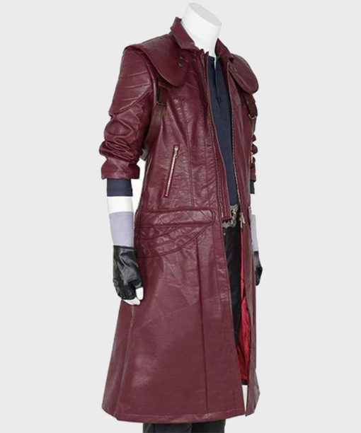 Devil May Cry 5 Dante Burgundy Leather Coat