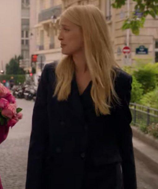Emily In Paris Camille Razat Black Double-Breasted Coat