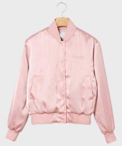 Emily In Paris Pink Bomber Satin Jacket