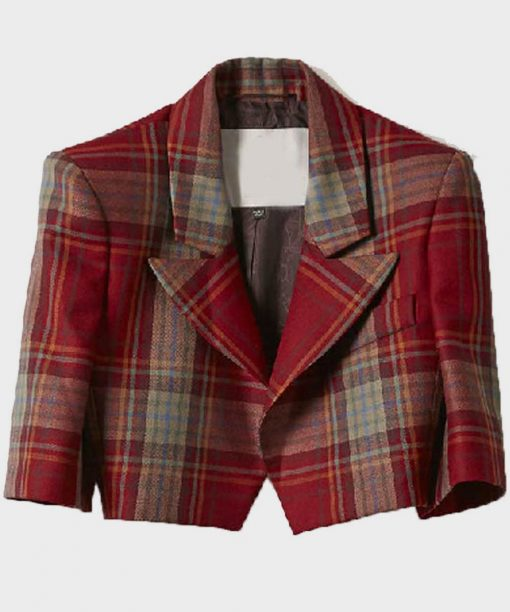 Emily In Paris Lily Collins Red Plaid Cropped Jacket