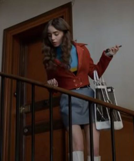Emily in Paris Lily Collins Brown Cotton Jacket