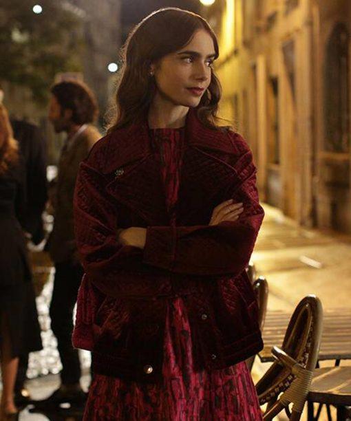 Emily in Paris Lily Collins Maroon Velvet Jacket