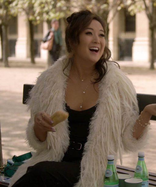 Emily in Paris Ashley Park White Fur Coat