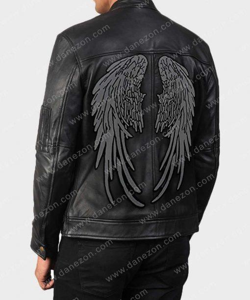 Birds Wings Printed Halloween Black Leather Jacket