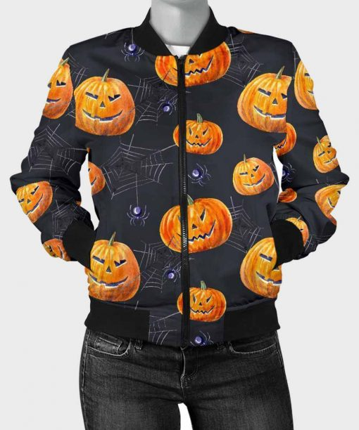 Pumpkin Printed Halloween Spider Bomber Jacket