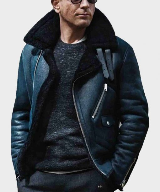 James bond Sheepskin Blue Leather Aviator Jacket with Shearling Collar