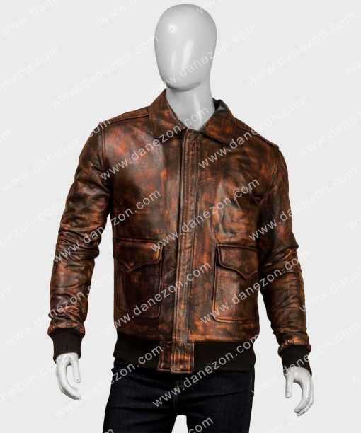 Mens Style A2 Distressed Aviator Leather Bomber Jacket