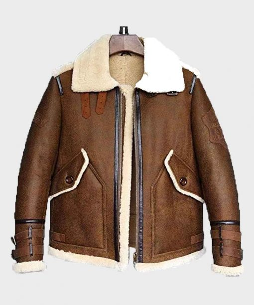 Mens B3 Shearling Sheepskin Aviator Leather Jacket