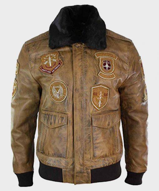 Mens Aviator Tan Fur Collar Bomber Jacket