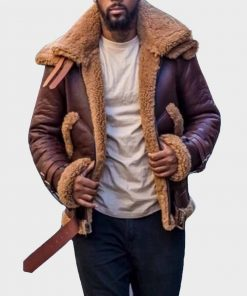 Mens B3 Flight Faux Shearling Brown Winter Leather Jacket