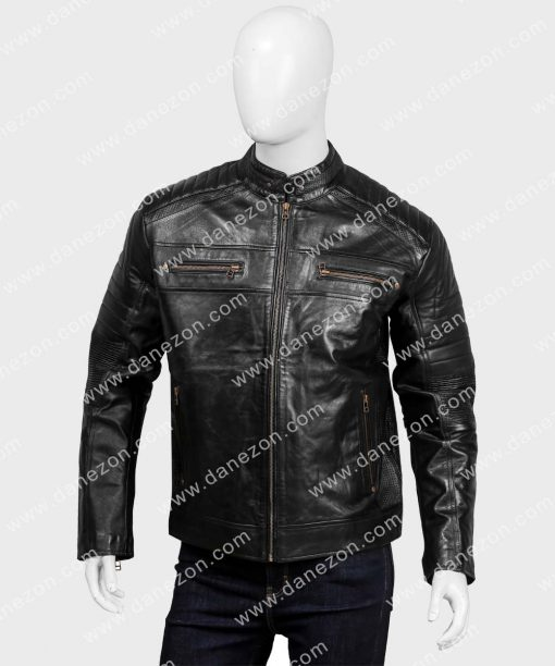 Mickael Black Cafe Racer Leather Jacket