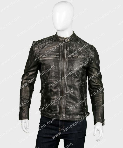Mens Distressed Black Cafe Racer Leather Jacket
